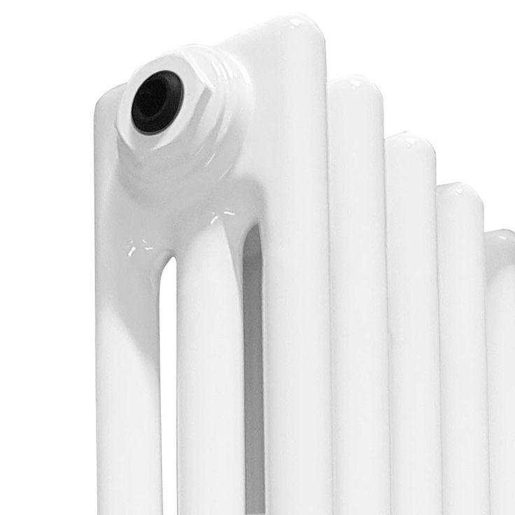 Keswick Cast Iron Style Traditional 3 Column White Radiator (600 x 1355mm) profile large image view 2