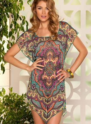 Sheer paisley print tunic to dress up or down - Becca Swimwear by Rebecca Virtue, $68.00
