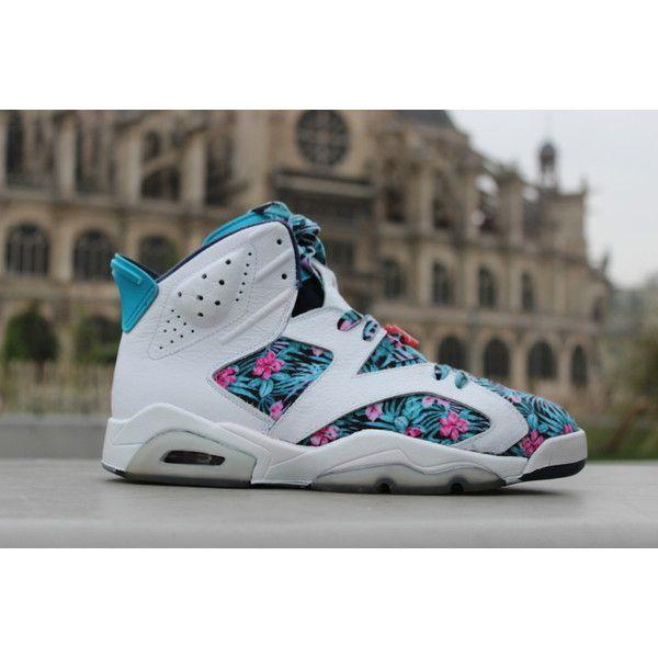 \u201cair jordan 6 retro floral pro bowl custom\u201d ? liked on Polyvore featuring  shoes