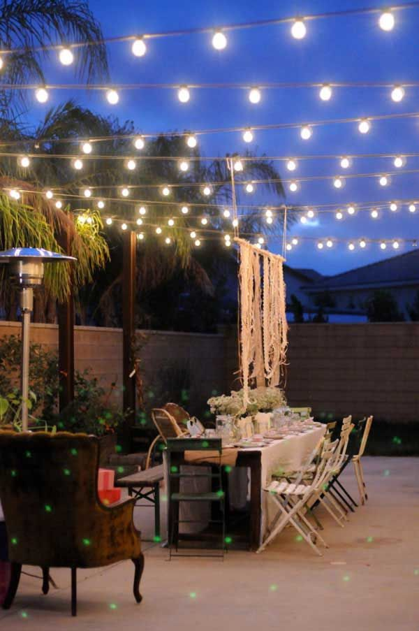 Rustic Indoor String Lights : Rustic Patio Designed with String Lights. Yard/Patio Pinterest Beautiful, Outdoor parties ...