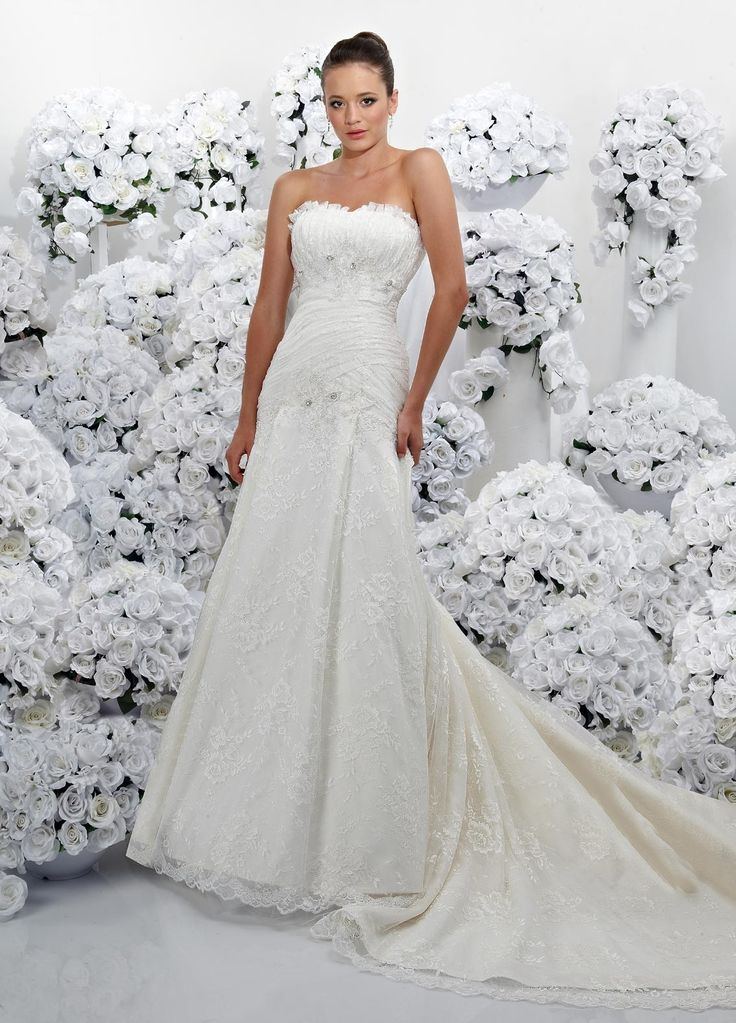 lace strapless modified sweetheart corset bodice a line wedding dress