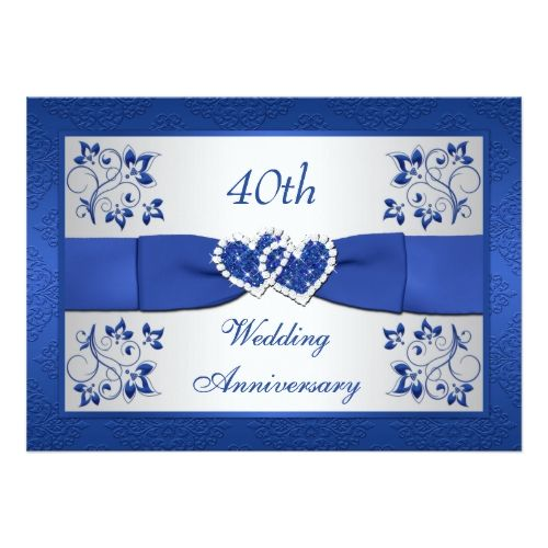 PRINTED RIBBON Blue Silver Floral 40th Anniversary Card