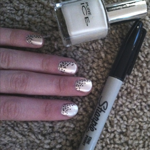 That was fun. Nail polish and sharpie :) grey nail polish would probably look better...try it with any sharpie color!