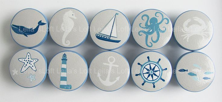 """Nautical Drawer Knobs Sailboat Knobs Sea Animal by LeilasLoft, $47.50 :::DETAILS::: - Price: $4.75 ea. - Size: 1 1/2"""" - Material: Maple Wood - Easy to install with a standard #8-32 screw (1"""" screw included)"""