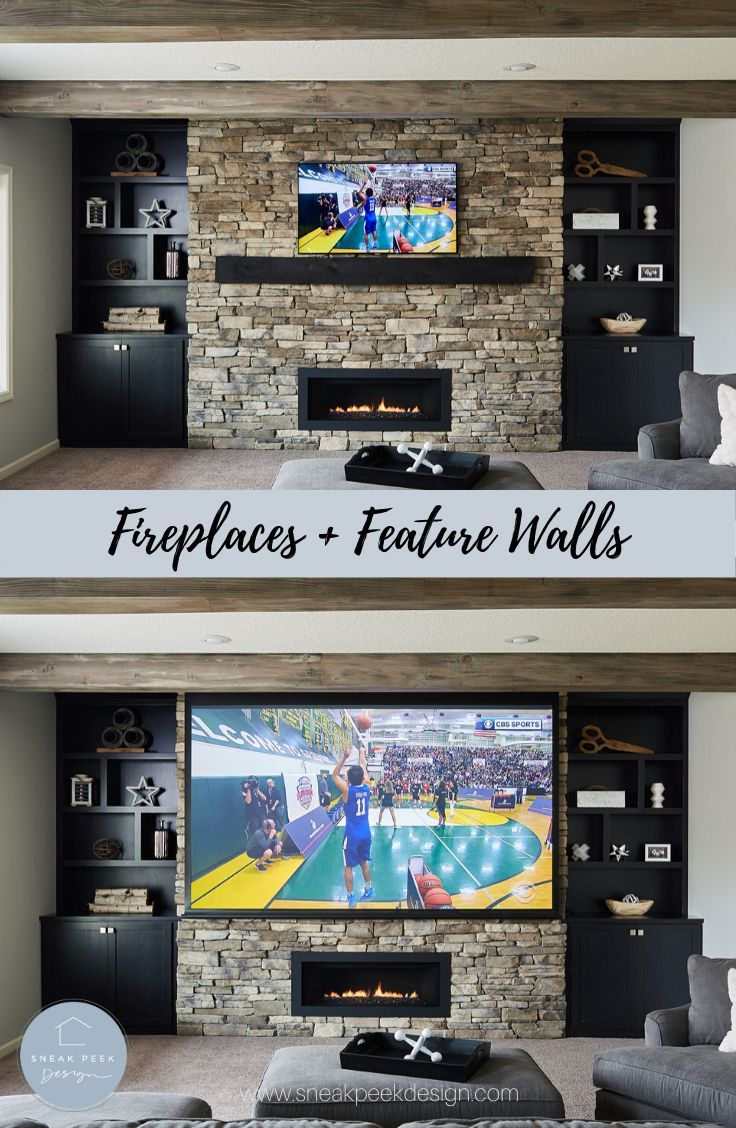 Fireplace And Tv Wall Fireplace Feature Wall Tv With Fireplace Large Tv With Fireplace In 2020 Fireplace Feature Wall Fireplace Tv Fireplace Remodel