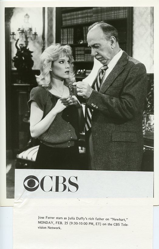 JULIA DUFFY JOSE FERRER PORTRAIT NEWHART TV SHOW ORIGINAL 1985 CBS TV PHOTO #Photos