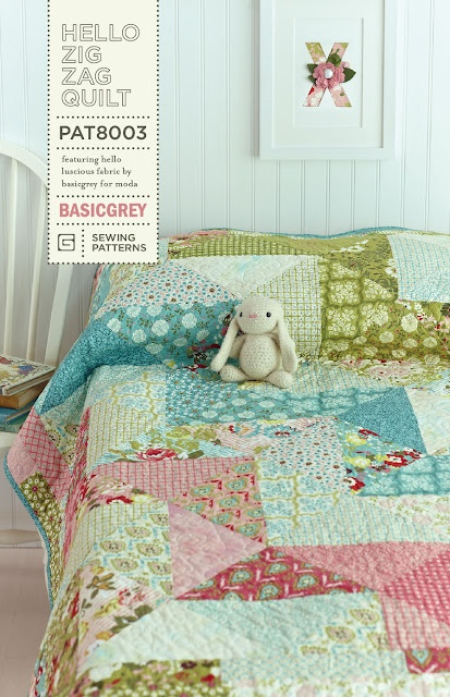 Felicity Quilts: BasicGrey Giveaway: Zig Zag, Layered Cakes, Quilts Patterns, Saw Quilts, Hello Zig, Basic Grey, Quilts Ideas, Quilts Tutorials, Basicgrey Giveaways