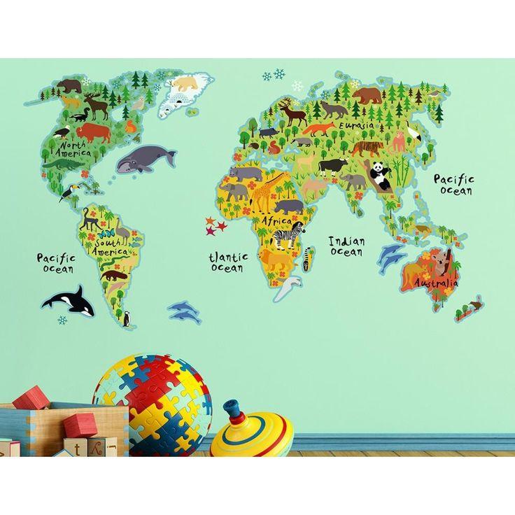 World Map διακοσμητικά παιδικά αυτοκόλλητα τοίχου επανατοποθετούμενα XL μέγεθος