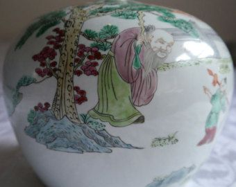 Chinese Vintage Famille Rose Tall Melon Jar / Watermelon Jar Depicting Scenes from Chinese Literature