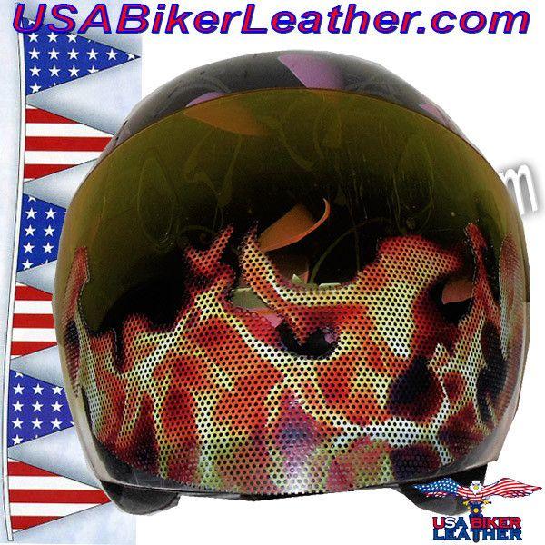 Fire Flames Motorcycle Helmet Visor Sticker / SKU USA-FIRESTICKER-HI