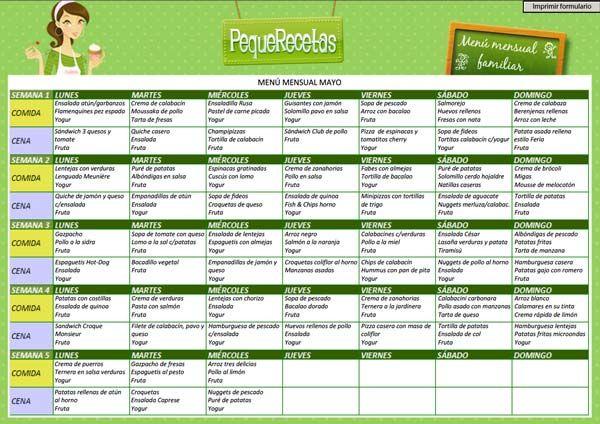 Menú mensual familiar. Mes de Mayo , Menú semanal de Mayo. Menú semanal detallado para toda la familia, con recetas paso a paso para cada día de la semana. Descubre nuestros menús semanales.