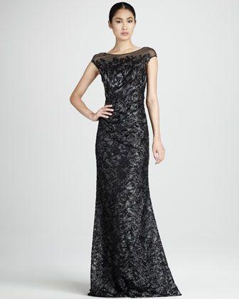Beaded Illusion Dress - Neiman Marcus