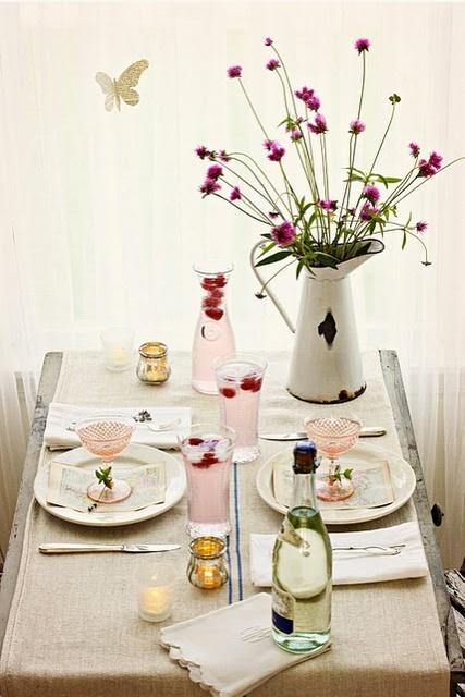 Table Setting, Tablescape, Flowers, Pink, Burlap