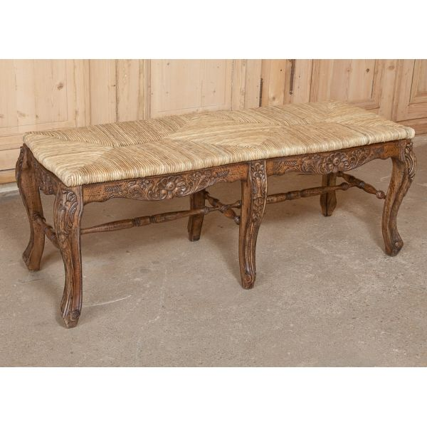 Antique Furniture | Miscellaneous Reproduction Furniture | Benches | Country French Rush Seat Bench | www.inessa.com