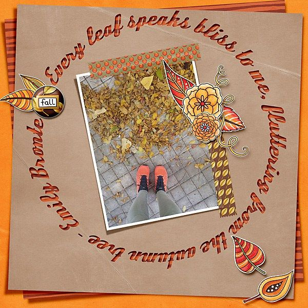 """Thanksgiving scrapbook page created with the """"Thankful Brads & Tapes"""" digital scrapbooking elements from Kate Hadfield – ideas and inspiration for Thanksgiving scrapbooking! Layout created by Creative Team member Cindy"""