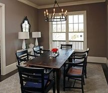 Love the tall base boards and lighting: Decor, Wall Colors, Wall Colour, Living Rooms, Dining Rooms Colors, Paintings Colors, Master Bedrooms, House, Benjamin Moore Weimaraner