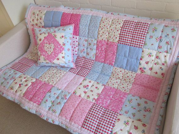 Shabby Chic patchwork cot/bed quilt by AnneLiseQuilts on Etsy