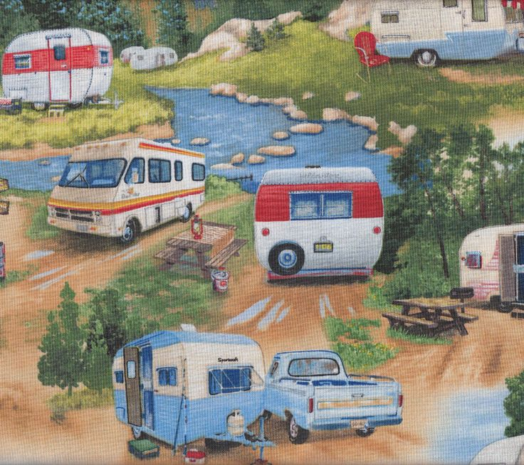 Retro Caravans Ute Camping Trees Mountains Quilt Fabric - Find a Fabric. Available to purchase in Fat Quarters, Half Metre, 3/4 Metre, 1 Metre and so on.