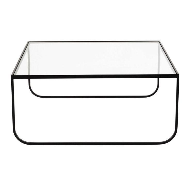 Quadratischer Couchtisch aus Metall und Hartglas, B 90cm