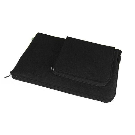 ETUI NA LAPTOPA i zasilacz 06 czarny zamek #black #macbook #sleeve #cover #felt