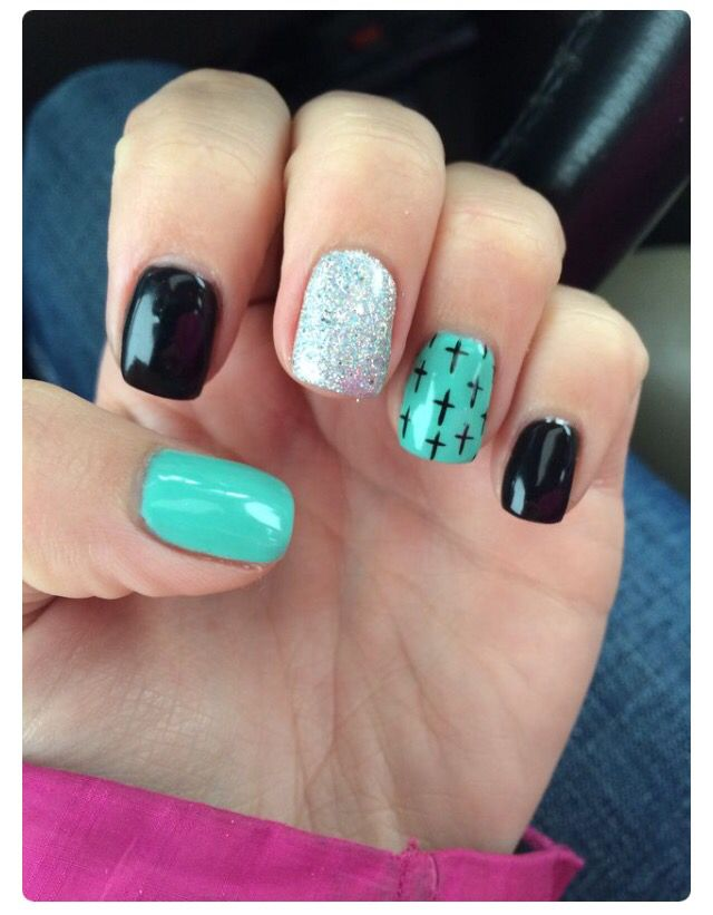 Silver Glitter Nail/Black Nails & Turquoise Nail With Cross Designs