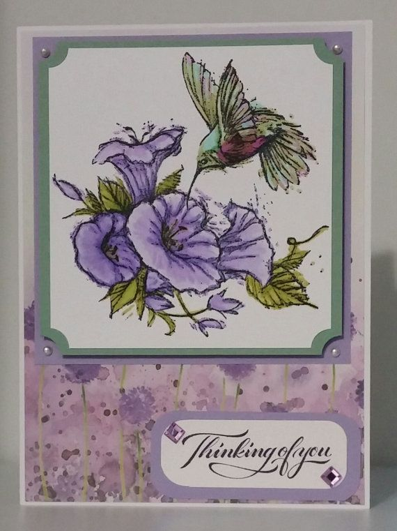 Thinking of You with Spectrum Noir Markers and a beautiful hummingbird stamp by Inkadinkado