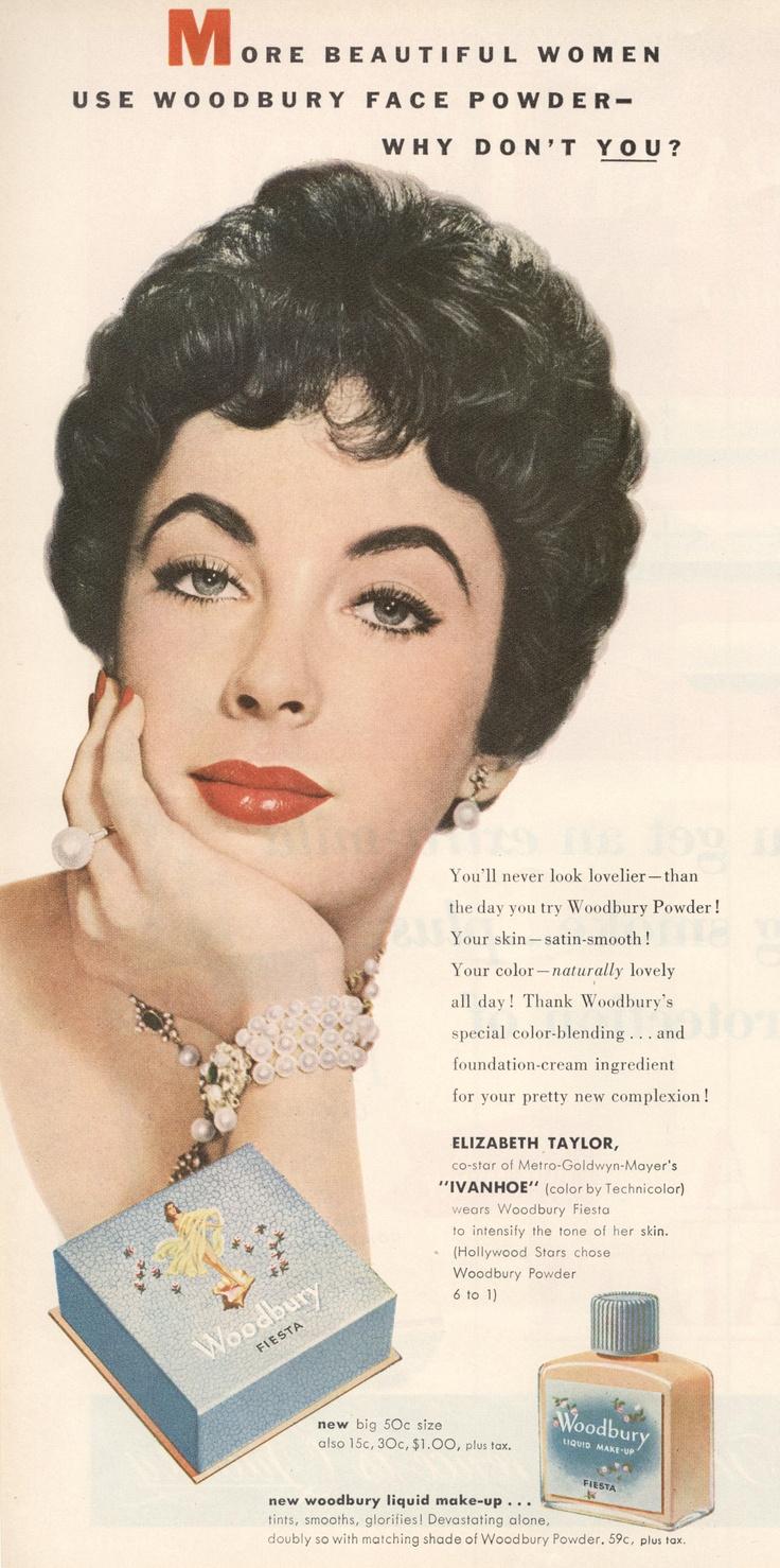"Elizabeth Taylor ""Woodbury"" ad from True Romance Magazine October 1952"