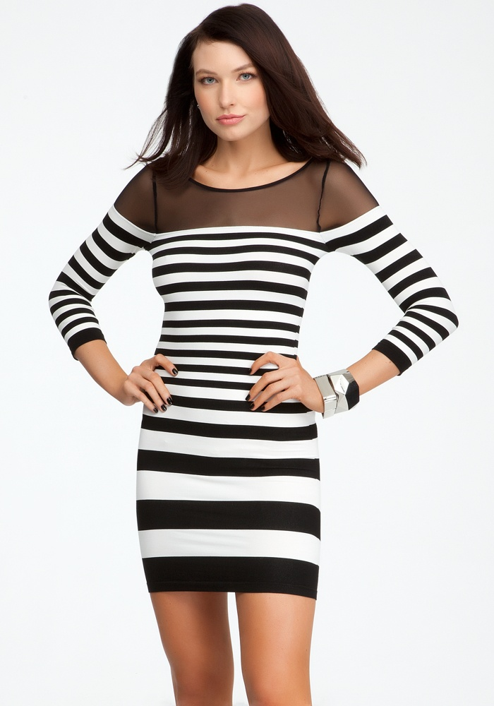 Mesh Shoulder Stripe Bodycon Dress - Egret/Black - M/L