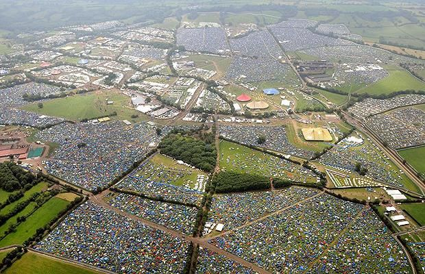 Aerial view of the 2009 Glastonbury Festival