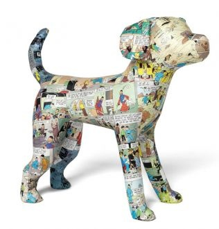 Agnetha Sjögren - cute paper mache puppy, slightly stylized, comics section paper layer