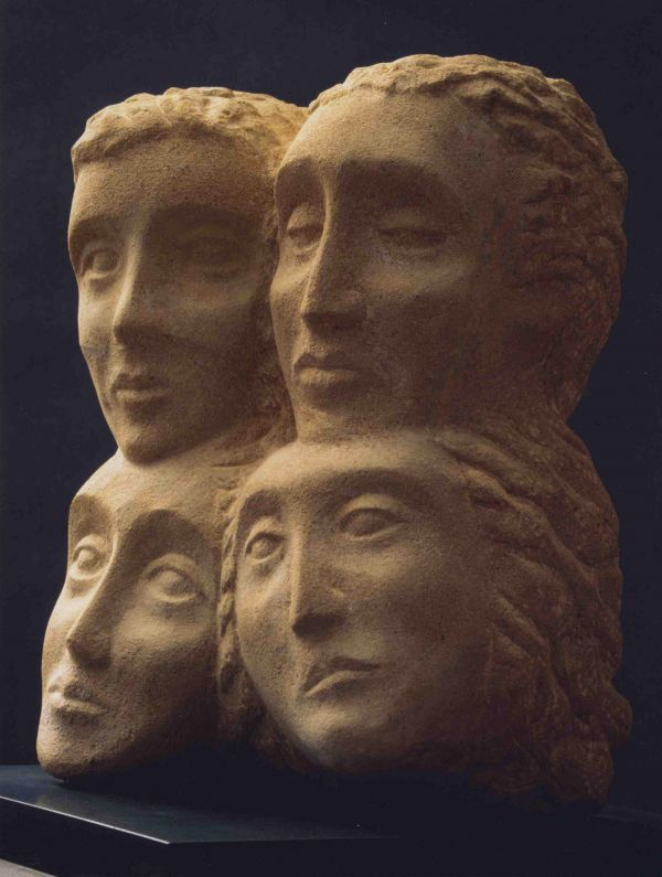 #Sandstone #sculpture by #sculptor Glynis Owen titled: 'For the Love of Ermione (Double lovers carved stone statues)'. #GlynisOwen