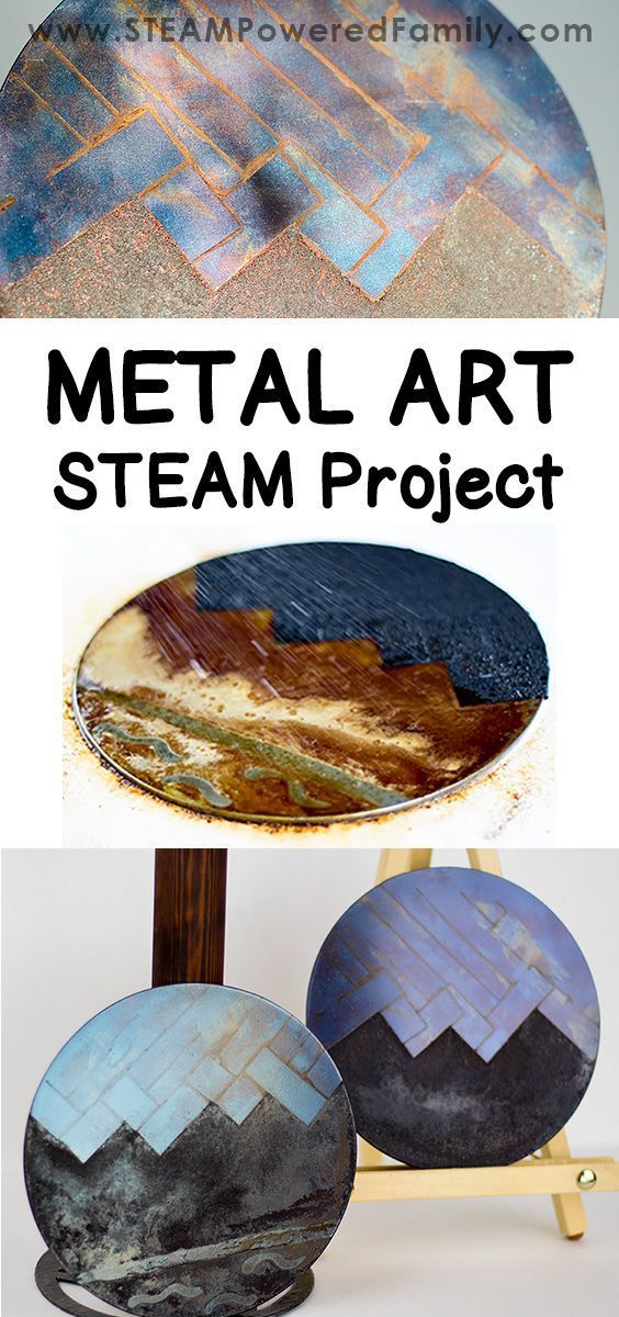 A metal art STEAM project that explores the fascinating phenomenon of metal and various forms of oxidation to create gorgeous art pieces. Applying techniques used by blacksmiths since 11th or 12th century BC, this metal art project is a wonderful combination of history, science, hands-on exploration, chemistry and art.
