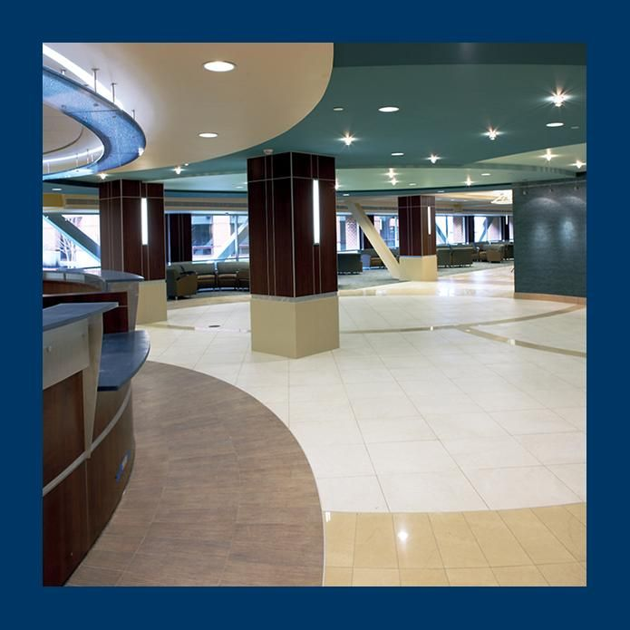 "Contech Lighting - Phantom ceiling mounted ""star"" lights. Hospital lobby."