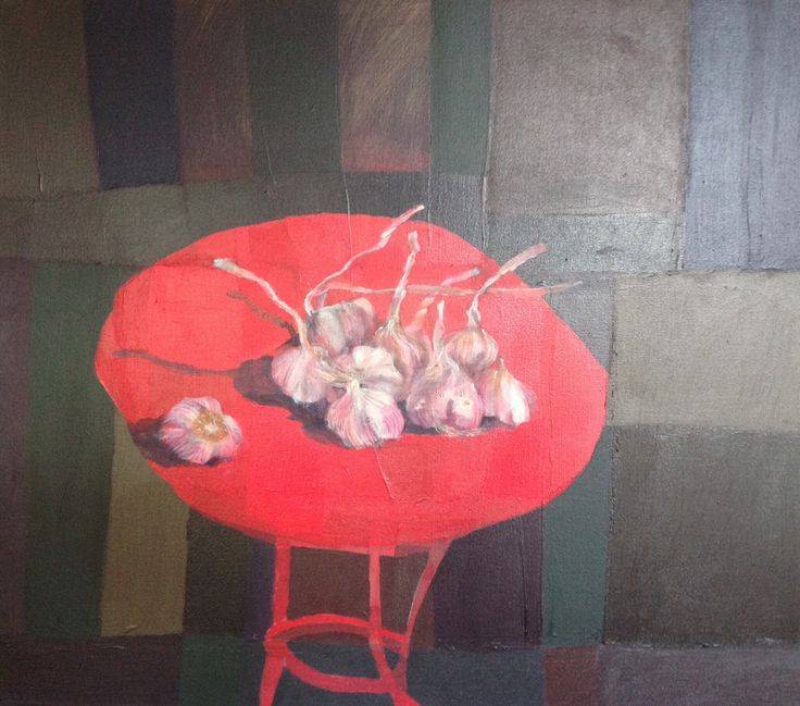 garlic on red table - charroux-allier france painting by johann slee www.slee.co.za