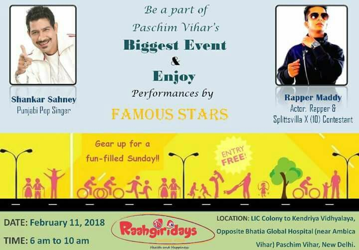 Raahgiri, one of the most awaited events of Paschim Vihar is just 5 Days away. Where  #ShankarSahney & #Rappermaddy will perform So save the date and gear up for an active Sunday! Date: 11th Feb. 2018 Time: 6 am - 10 am Venue: LIC Colony to Kendriya Vidyalya, Opposite Bhatia Global Hospital (near Ambica Vihar) Paschim Vihar, New Delhi. #Raahgiri #Sunday #February #DayToRemember #RaahgiriPaschimVihar #FunActivities #Kids #Health #Happiness #Cycling #LiveMusic #DJ #Dance #Performance