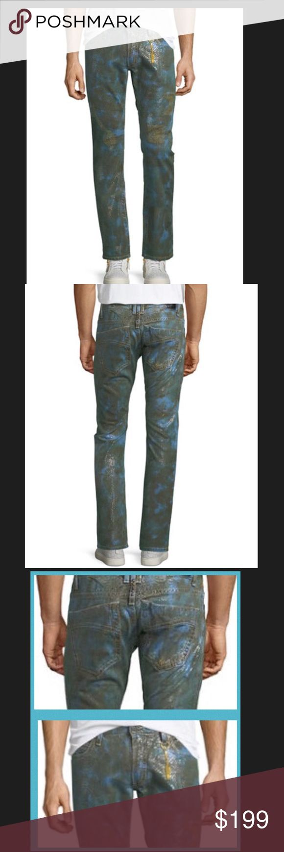 "Men's Robin Marlon Straight Leg Jean Snake Print Distressed Denim •Approx. measurements: 8"" rise; 31"" inseam; 16"" leg opening. •5-pocket style. Signature wing print at back waist. •Straight legs. •Button/zip fly; belt loops. •Cotton; machine wash. Robin's Jean Known for its biker-chic aesthetic, embodies American ethos captured by motorcycles, vintage cars, & open road. Adorned by a set of wings—the brand's symbol—each pair of jeans pays homage to the American dream through non-conformist…"