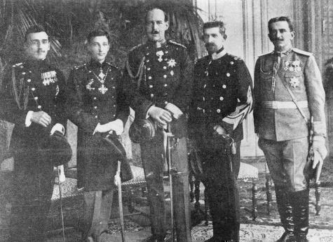 The Balkan Crown Princes at a gathering: Alexander of Serbia, Boris of Bulgaria, Constantine of Greece, Ferdinand of Romania, Danilo of Montenegro,1912