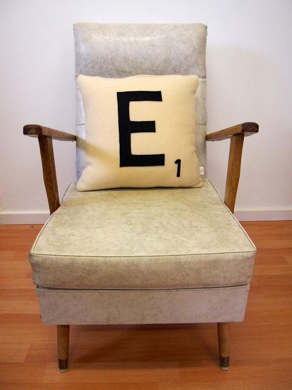 Scrabble letter E. Upcycled vintage woolen blanket cushion via Etsy