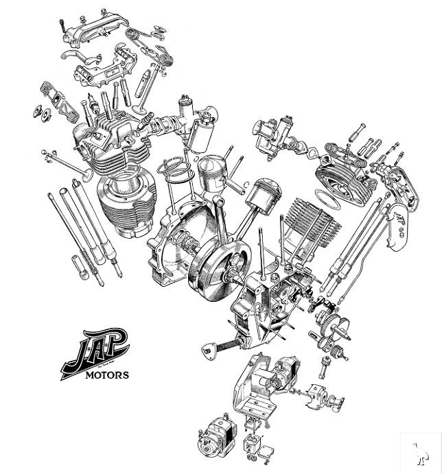 VTwin engine exploded view | Dream Garage