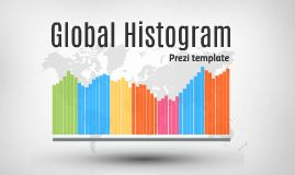 From Prezibase.com. Simple template showing four colour based histograms, made entirely from Prezi shapes (change colour, rearrange, resize). Prezi template has a light grey background with a world map, when zooming in, another world map appears.