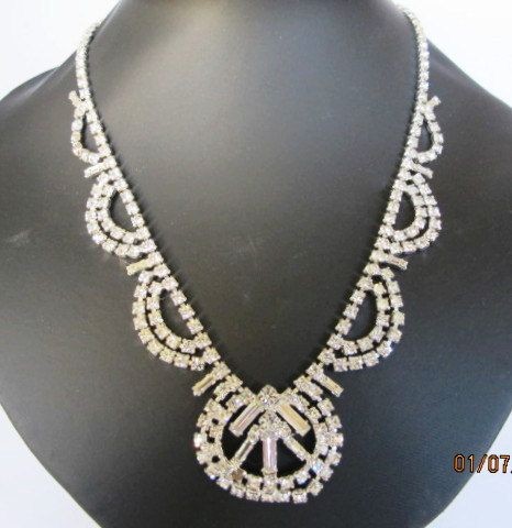 Vintage Arc Rhinestone Necklace by DesignerShowcase on Etsy