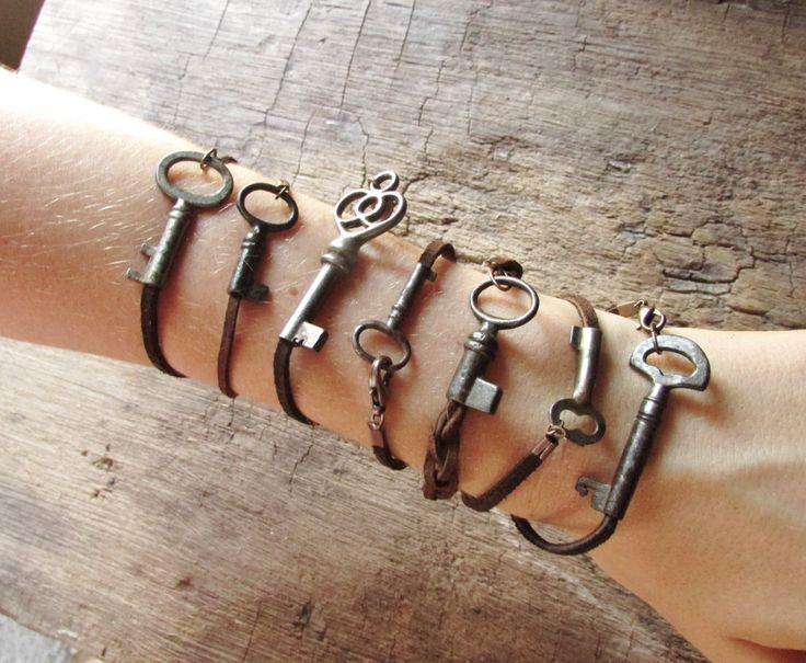 Skeleton Key Bracelet on Rustic Leather Cord by aptoArt on Etsy