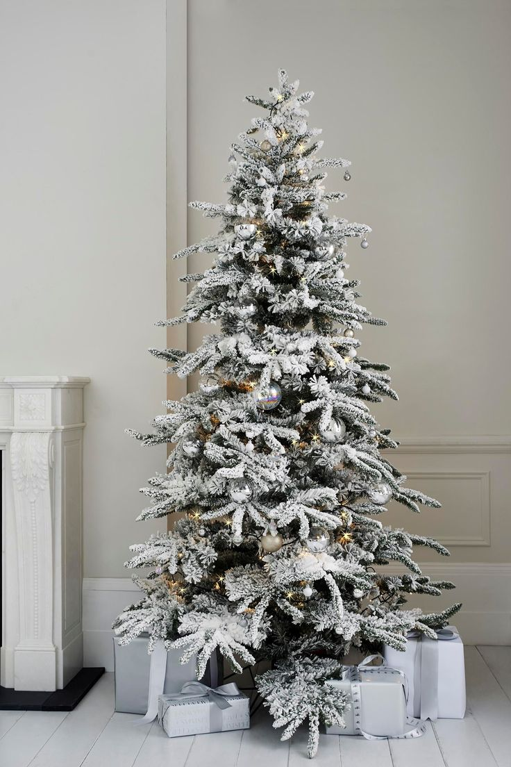Decorate a white flocked christmas tree - White Christmas 7ft Alaskan Fir Tree With Faux Snow From Next Uk