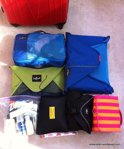 Packing luggage. I love my eagle creek packing cubes too! I don't travel without them now
