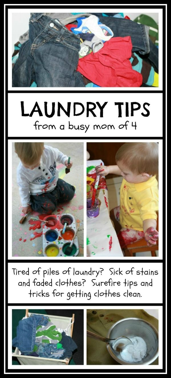 Laundry Tips from a Busy Mom of Four - Tips and tricks to fight ANY stain as well as detergent recipes, sorting suggestions and more.  A must read for moms who like messy play!