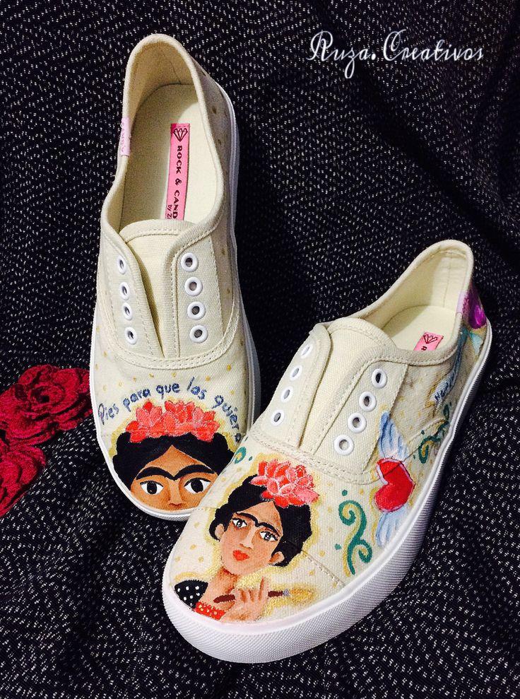 Yo te cielo Frida Tenis pintados a mano