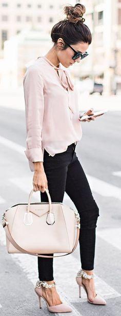 Blush the Knot Top   Black Denim   Blush Embellished Heels     Nude Handbag  Pink and Black Casual Chic Street Style   Hello Fashion