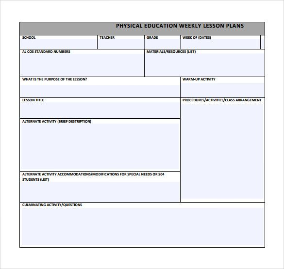 Phys Ed Lesson Plan Template template Pinterest Lesson plan