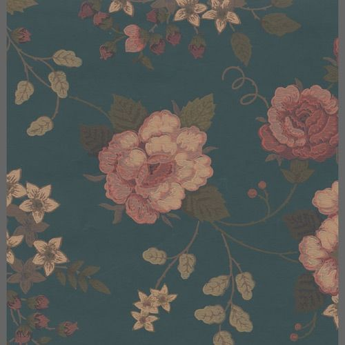 Traditional blue and pink floral