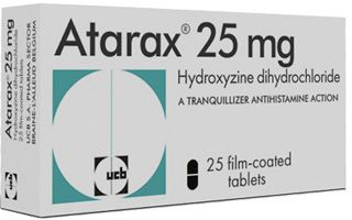Treat allergy - Buy here: Atarax (Hydroxyzine) has antihistamine with anticholinergic and sedative properties used to treat allergy.